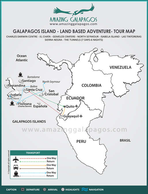 Tourmap Galapagos Island - Land Based Adventure Tours