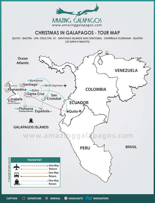 Tourmap Christmas in Galapagos 2018 - 8 day cruise on the Millenium Yacht